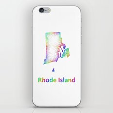 Rainbow Rhode Island map iPhone & iPod Skin