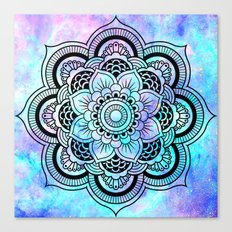 mandala pink lavender aqua galaxy space Canvas Print