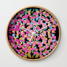 Pink, Blue, & Gold Faux Sparkly Paint Splatter Wall Clock
