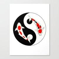 Koi Kohaku and Taisho Sanke Yin Yang Canvas Print