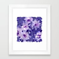 Abstract Floral In Blue … Framed Art Print