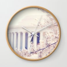 Cherry Blossoms at the Jefferson Memorial Washington DC Wall Clock
