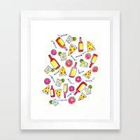 Vices - Illustration - liquor, junk food, beer, smoking, donuts, pizza Framed Art Print