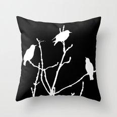 White Birds on Black Throw Pillow