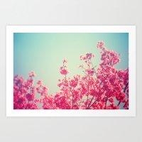 Pink Flowers in the Sky Art Print