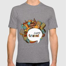 Town Pattern #3 Mens Fitted Tee Tri-Grey SMALL