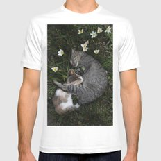 Sleep [A CAT AND A KITTEN] White Mens Fitted Tee SMALL