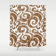 Brown Spiral Shower Curtain