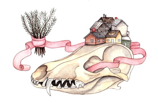 Tiny Homes of Pine on Bone Art Print