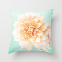 Flower Peachy Bloom Throw Pillow