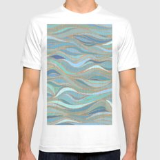 Wave lines 1 Mens Fitted Tee White SMALL
