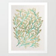 Green & Gold Branches Art Print
