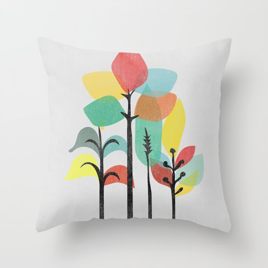 Tropical Groove (gray) Throw Pillow