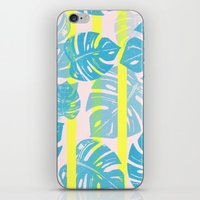 Linocut Monstera Neon iPhone & iPod Skin