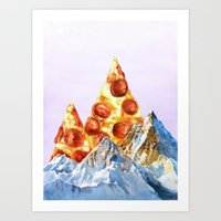 Pepperoni Pizza Peaks Art Print