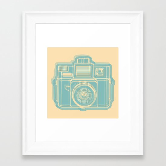 I Still Shoot Film Holga Logo - Reversed Turquoise/Tan Framed Art Print