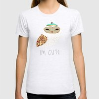 i'm cute owl illustration  Womens Fitted Tee Ash Grey SMALL