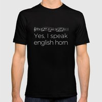 Yes, I speak english horn Mens Fitted Tee Black SMALL