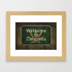 Welcome to Colorado V2 (with marijuana leaf symbol) roadside sign illustration Framed Art Print
