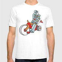 Hot Wheeling Robot Love Mens Fitted Tee White SMALL