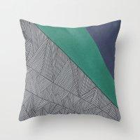 Black, Turquois, Dark Bl… Throw Pillow