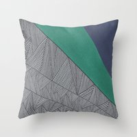 Black, Turquois, Dark Bl… Throw Pillow