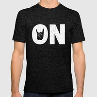 Rock On Mens Fitted Tee Tri-Black SMALL