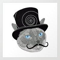 Meowstache & Top Hat Art Print