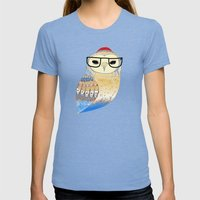 Hipster Owl Womens Fitted Tee Tri-Blue SMALL