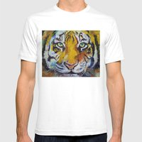 Tiger Psy Trance Mens Fitted Tee White SMALL
