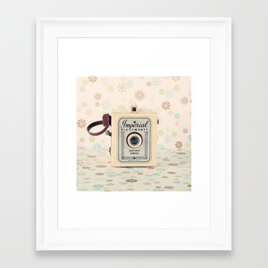 Retro Film Camera on Beige - Cream Pattern Background  Framed Art Print