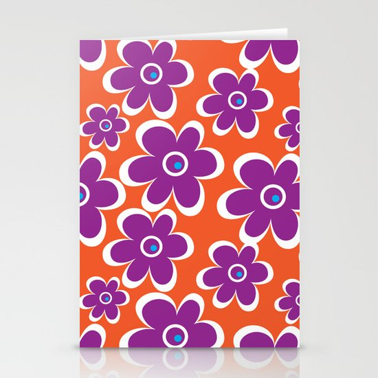 retro purple flower Stationery Card