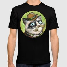 Dapper Grumpy Cat - Cats with Moustaches Black SMALL Mens Fitted Tee