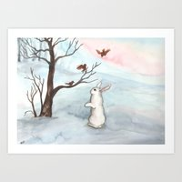 Rabbit In The Winter Sno… Art Print
