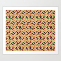 Leafs Cute Pattern Art Print