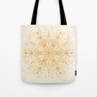 Sepia Snowflake Doodle Tote Bag