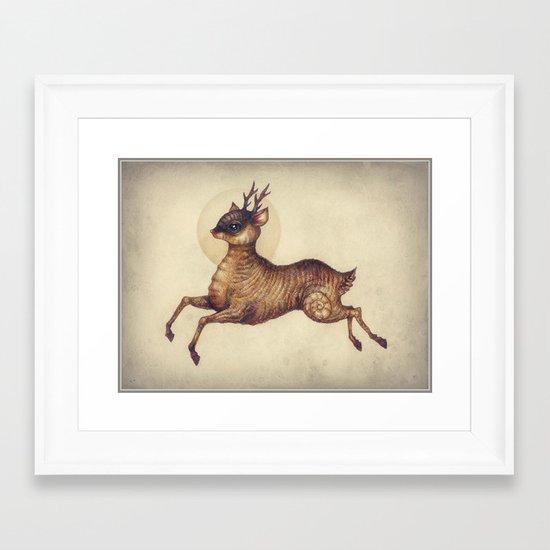 Deer in Leap Framed Art Print