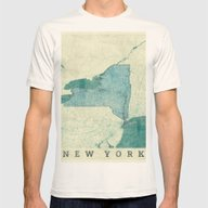 New York Map Blue Vintag… Mens Fitted Tee Natural SMALL