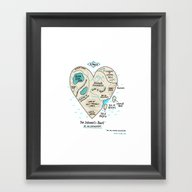 Framed Art Print featuring A Map Of The Introvert's… by Gemma Correll