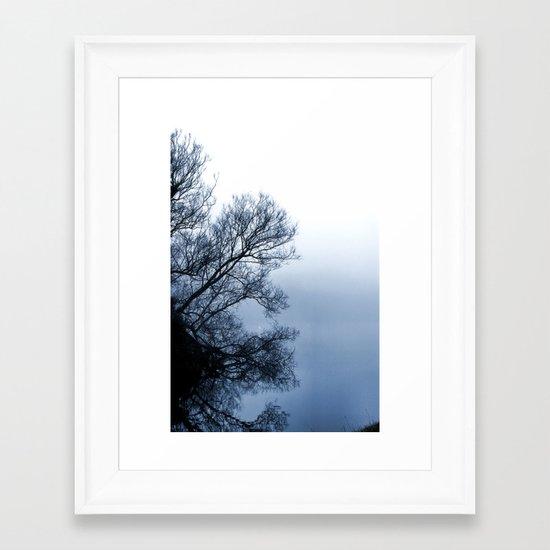 Swans in the Mist Framed Art Print