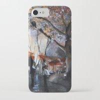 rain iPhone & iPod Cases featuring Autumn rain - watercolor by Nicolas Jolly