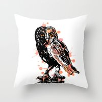 Owl with ink Throw Pillow