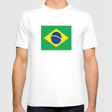 Flag of Brazil Mens Fitted Tee SMALL White