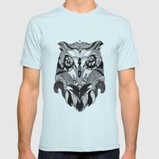 Owl  Mens Fitted Tee Light Blue SMALL