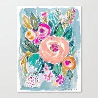 PEACH SPIN FLORAL Canvas Print