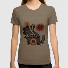 Indhi Swan Womens Fitted Tee Tri-Coffee SMALL