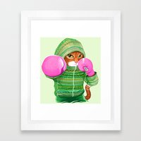 BOXING CAT 4 Framed Art Print