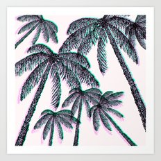 Tropical Palm Trees in Pink Teal Black  Art Print