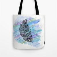 zentangle doodle watercolor feather Tote Bag