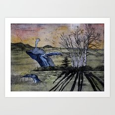 Blue Breaching Whale  Art Print